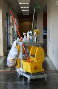 Janitorial cart in the middle of a hallway